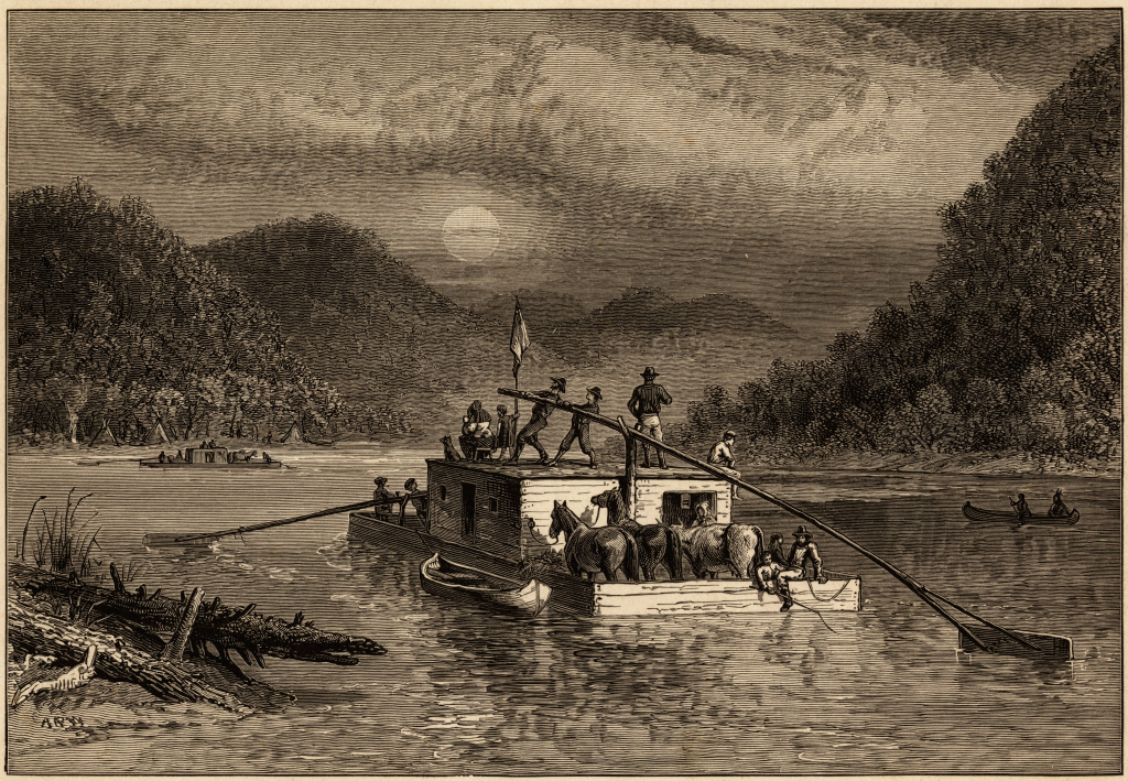 Traveling-by-flatboat-engraving-by-Alfred-R-Waud