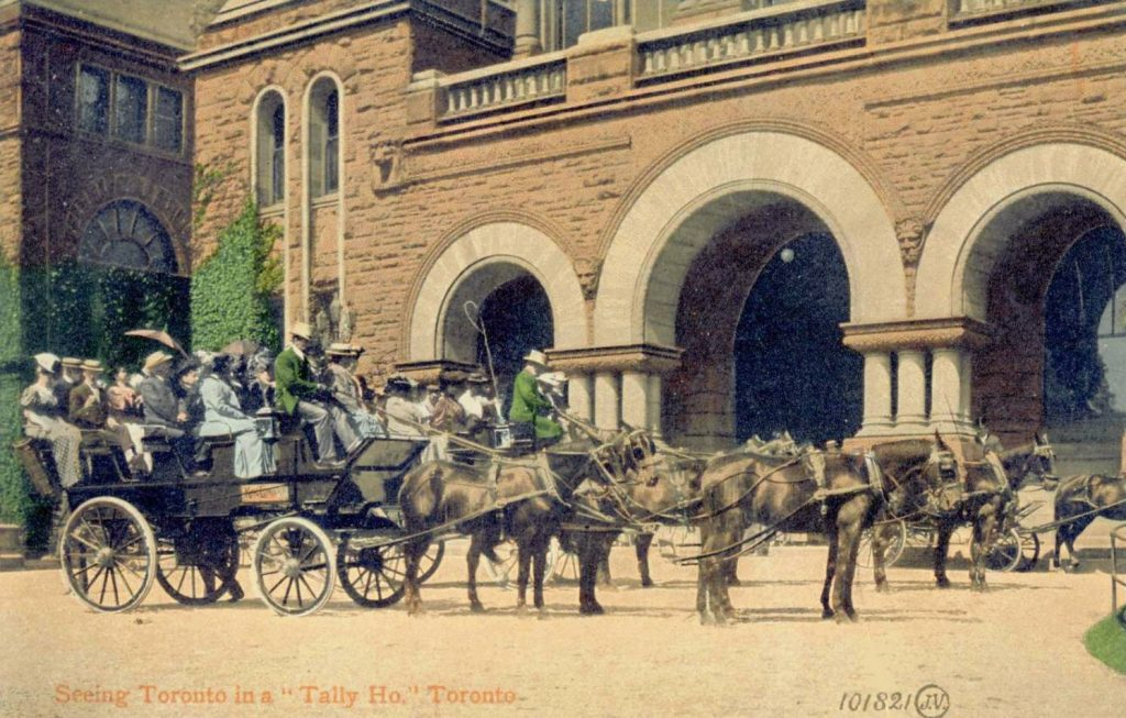 postcard-toronto-queens-park-building-coaches-with-tourists-tally-ho-c1910